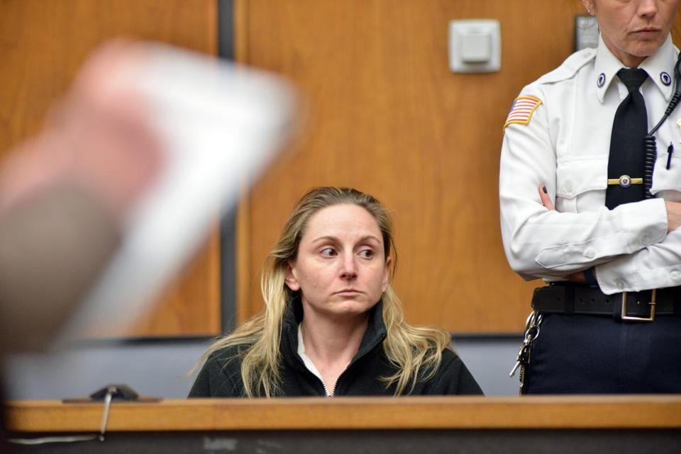 Jennifer Garvey appeared in Woburn District Court for a dangerousness hearing after a domestic dispute.